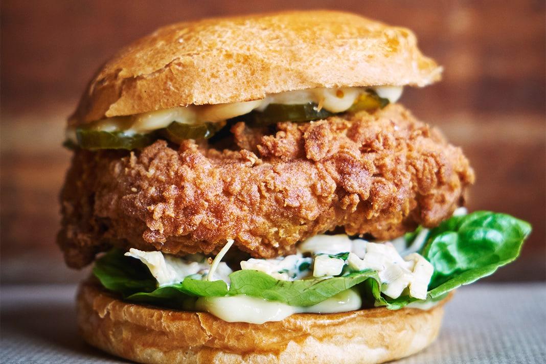 Patty and Bun vegan chicken burger