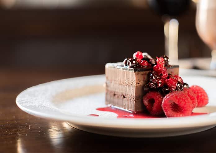 Waterway Maida Vale Chocolate dessert with raspberries