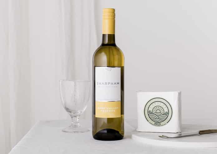 Sharpham cheese and wine gift
